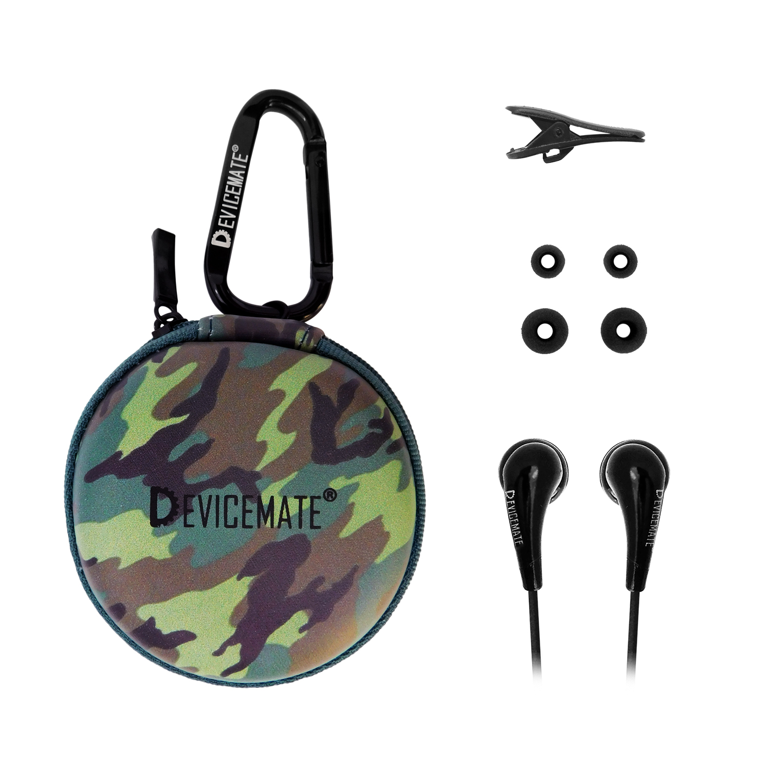 Devicemate SD 255-GCM In-Ear Stereo Earphones [Green Camo] Case