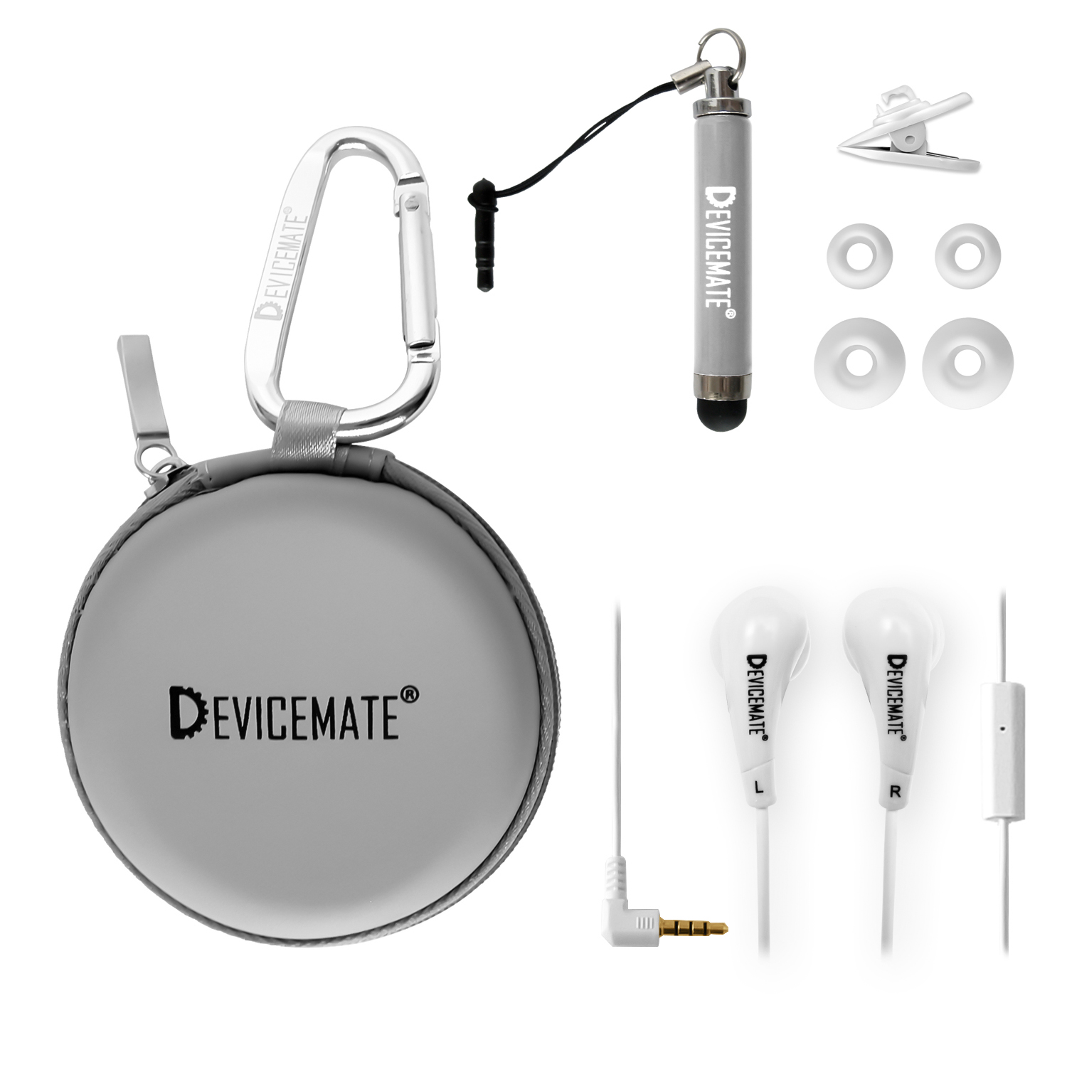 Devicemate SD 455-SLG Earphones w/mic for iPhone [Slt Gray] Case